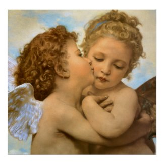 The First Kiss by William Adolphe Bouguereau print