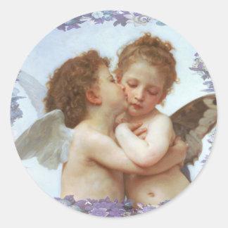 THE FIRST KISS, C.1873 William Bourgeau Classic Round Sticker