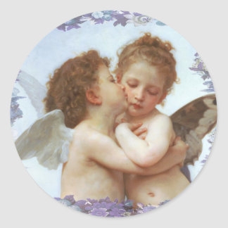 THE FIRST KISS, C.1873 William Bourgeau Classic Round Sticker