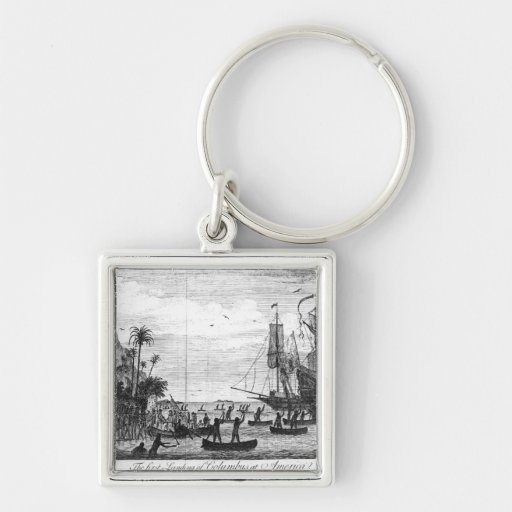 The First Landing of Columbus at America Key Chains