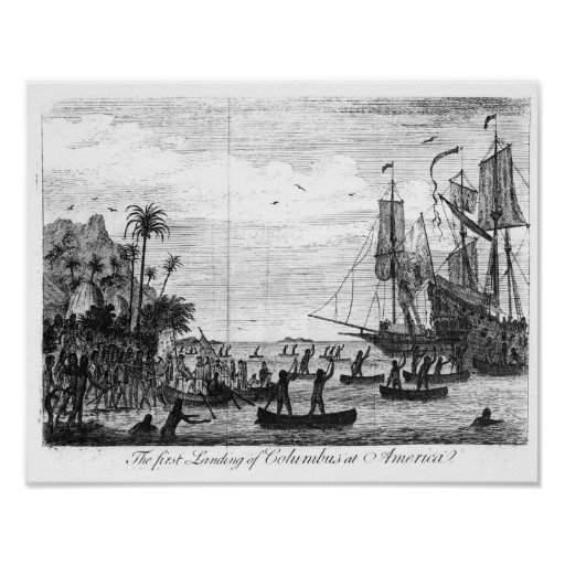 The First Landing of Columbus at America Print