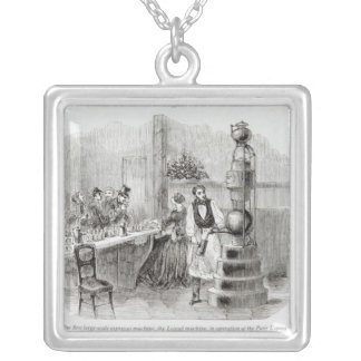 The first large-scale espresso machine silver plated necklace
