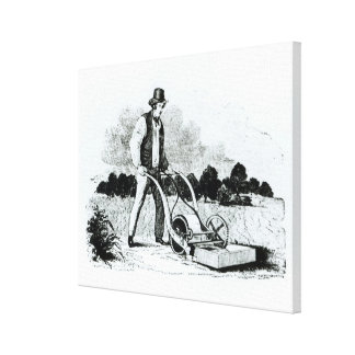 The first lawnmower (engraving) (b/w photo) canvas print