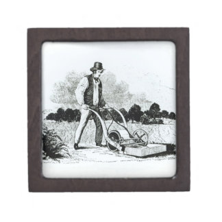 The first lawnmower (engraving) (b/w photo) jewelry box