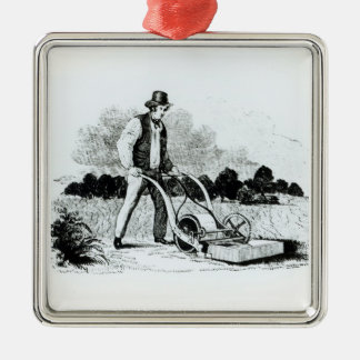 The first lawnmower (engraving) (b/w photo) christmas tree ornament