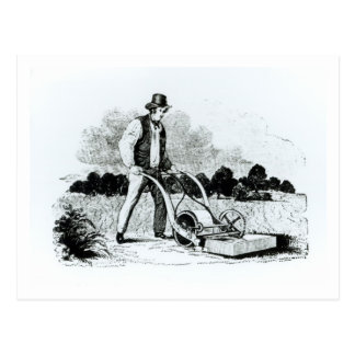 The first lawnmower (engraving) (b/w photo) postcard