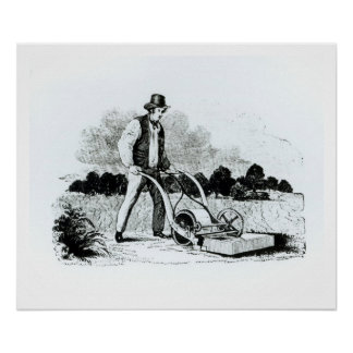 The first lawnmower (engraving) (b/w photo) poster