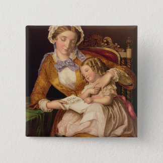 The First Lesson, pub. by Baxter, 1855 (print) Pinback Button