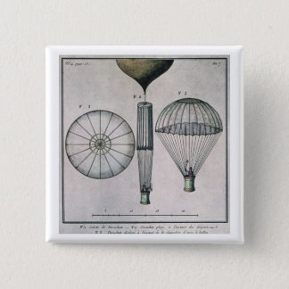 The First Parachute Descent by Andre-Jacques Garne Pinback Button