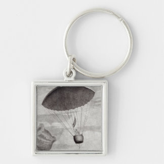 The First Parachute Descent Silver-Colored Square Keychain