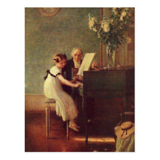 The First Piano Lesson by Muenier Postcard