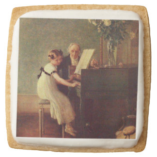 The First Piano Lesson by Muenier Square Shortbread Cookie