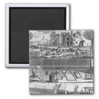 The First Plate of the Woollen Manufacture 2 Inch Square Magnet