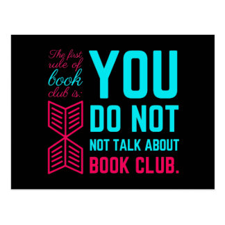 The first rule of book club funny phrase postcard