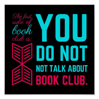 The first rule of book club funny phrase poster