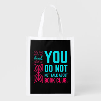 The first rule of book club funny phrase reusable grocery bag