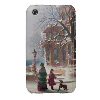The First Snow Christmas scene iPhone 3 Covers