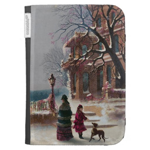 The First Snow Christmas scene Kindle Cases