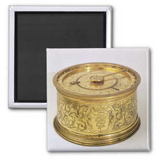 The first spring driven clock with fusee, 1525 2 inch square magnet