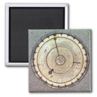 The first spring driven clock with fusee, view of 2 inch square magnet