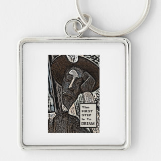The First Step Silver-Colored Square Keychain