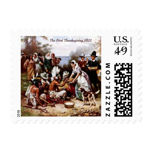 The First Thanksgiving 1621. Postage Stamp Postage Stamp