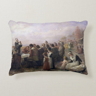 The First Thanksgiving at Plymouth by Brownscombe Accent Pillow