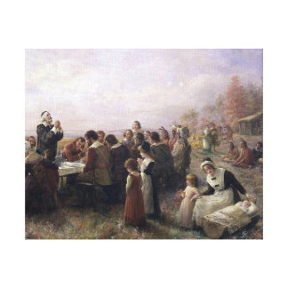 The First Thanksgiving at Plymouth by Brownscombe Canvas Print