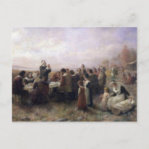 The First Thanksgiving at Plymouth by Brownscombe Holiday Postcard