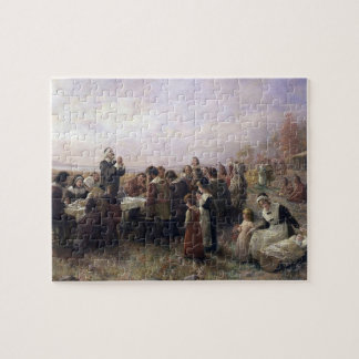 The First Thanksgiving at Plymouth by Brownscombe Jigsaw Puzzle