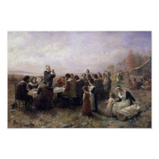 The First Thanksgiving at Plymouth by Brownscombe Poster