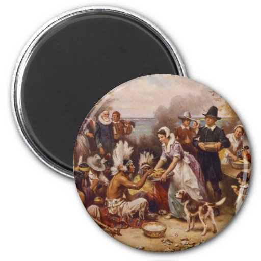 The First Thanksgiving by Jean Leon Gerome Ferris Magnets