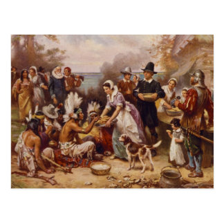 The First Thanksgiving by Jean Leon Gerome Ferris Post Card