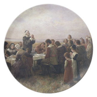 The First Thanksgiving Dinner Painting Dinner Plate