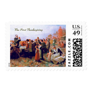 The First Thanksgiving. Fine Art Postage Stamp