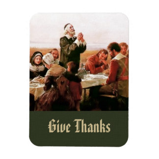 The First Thanksgiving in Plymouth. Gift Magnet