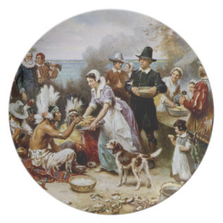 Amazing The First Thanksgiving Painting Melamine Plate