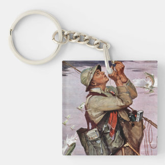 The Fish are Jumping Double-Sided Square Acrylic Keychain