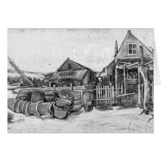 The fish drying barn at Scheveningen, c.1882 Card