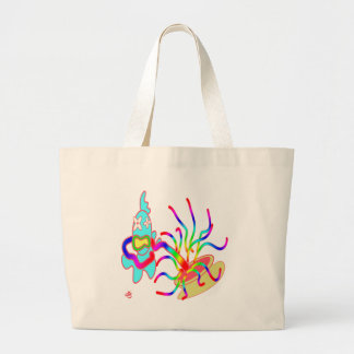 The fish is caught large tote bag