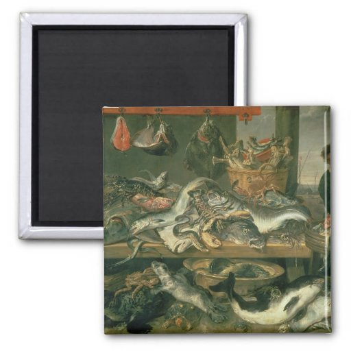 The Fish Market, 1618-21 2 Inch Square Magnet