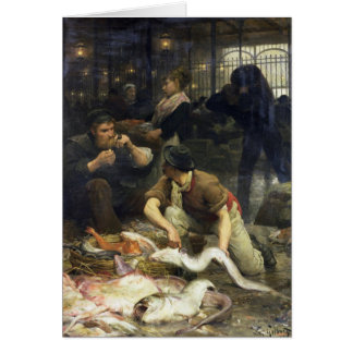 The Fish Market in the Morning, 1880 Card