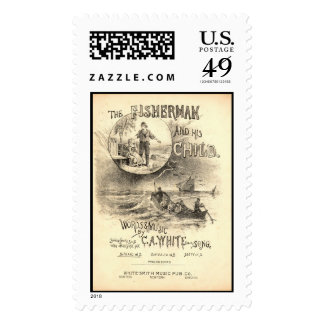 The Fisherman and his Child Music Postage Stamp