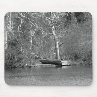 The Fisherman B&W Mouse Pad