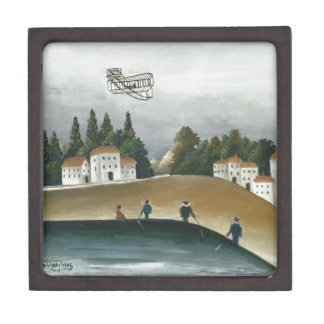 The Fishermen and the Biplane by Henri Rousseau Jewelry Box