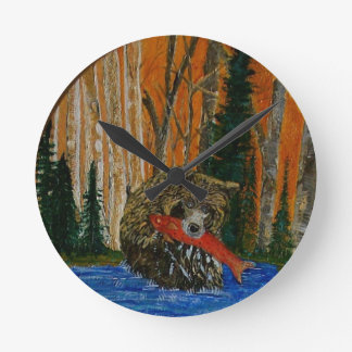 The Fishing Bear Round Wall Clocks