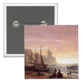The fishing fleet - Albert Bierstadt Pinback Button