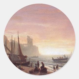 The fishing fleet - Albert Bierstadt Classic Round Sticker