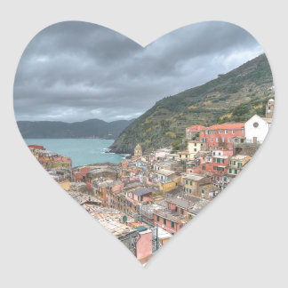 The fishing village of Vernazza, Cinque Terre, Ita Heart Stickers