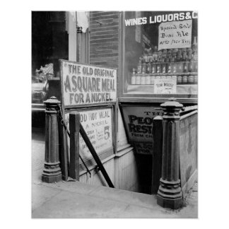 The Five Cent Restaurant, 1915. Vintage Photo Poster
